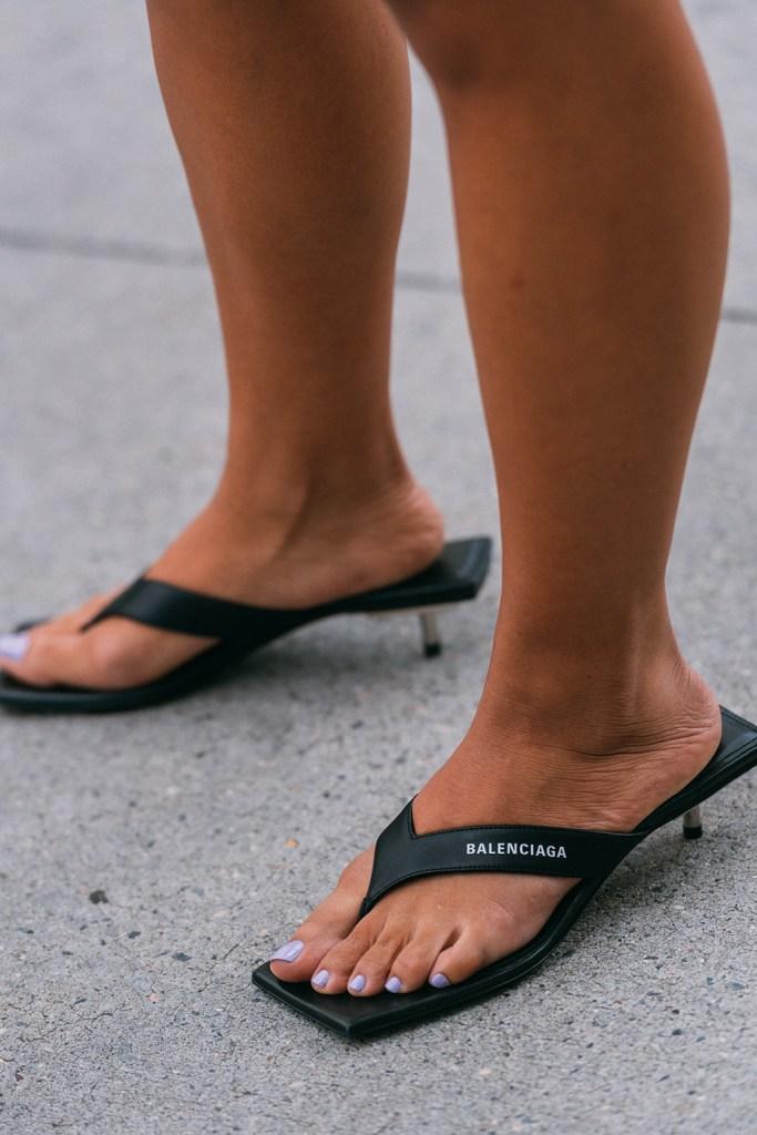balenciaga, street style, New York fashion week, flip flops, thong heels