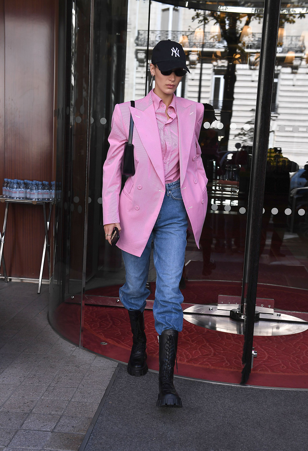 Bella Hadid, pink blazer, button-down shirt, mom jeans, Prada boots, combat boots, celebrity style, street style, New York yankees hat, mini bag, model off duty, Bella Hadid out and about, Paris Fashion Week, France - 30 Sep 2019