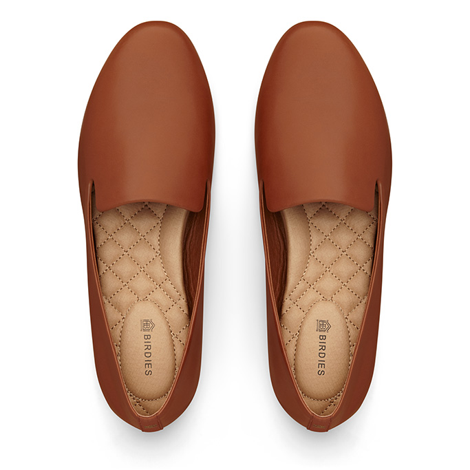Birdies Starling Flat in Cognac leather.