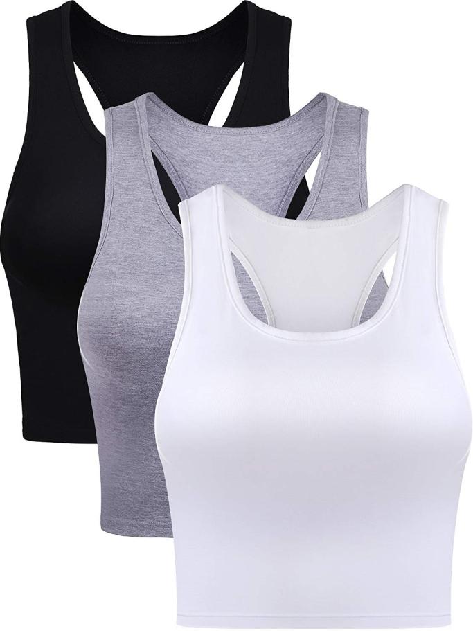Boao 3 Pieces Women's Cotton Basic Sleeveless Racerback Crop Tank Top
