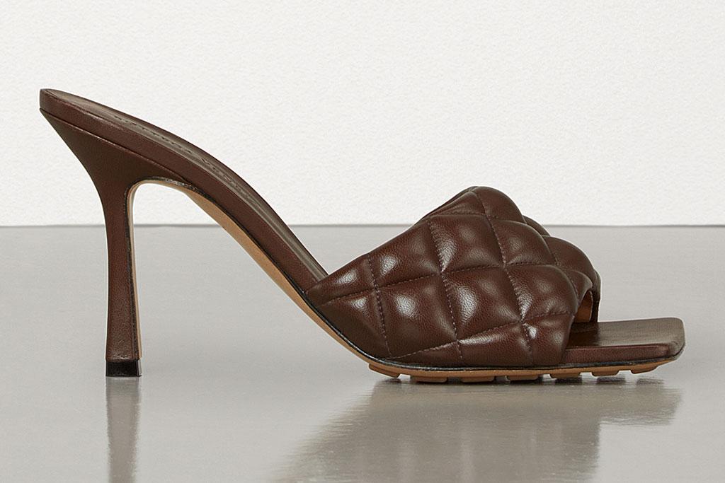 bottega veneta, square toes, mules, quilted leather