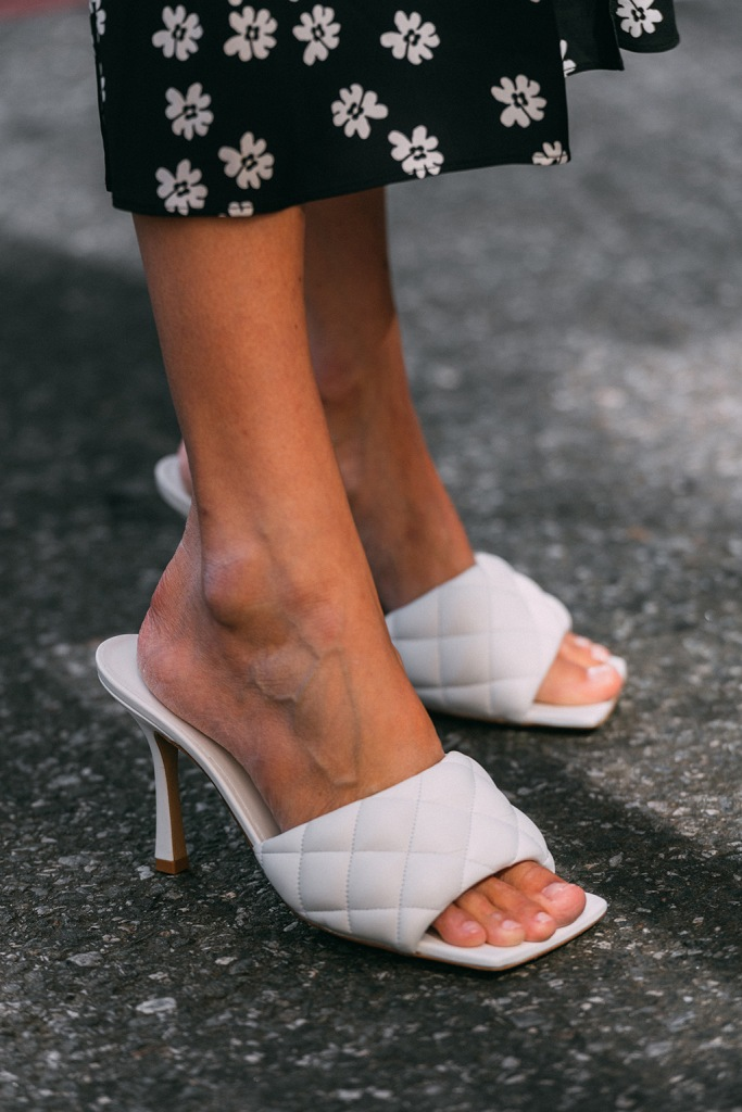 Bottega Veneta, quilted sandals, square toe, white shoe trend, nyfw, spring 2020