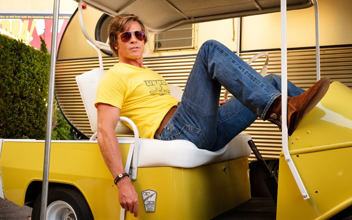 Editorial use only. No book cover usage.Mandatory Credit: Photo by A Cooper/Sony/Columbia/Kobal/Shutterstock (10156703i)Brad Pitt as Cliff Booth'Once Upon A Time In Hollywood' Film - 2019A faded TV actor and his stunt double strive to achieve fame and success in the film industry during the final years of Hollywood's Golden Age in 1969 Los Angeles.