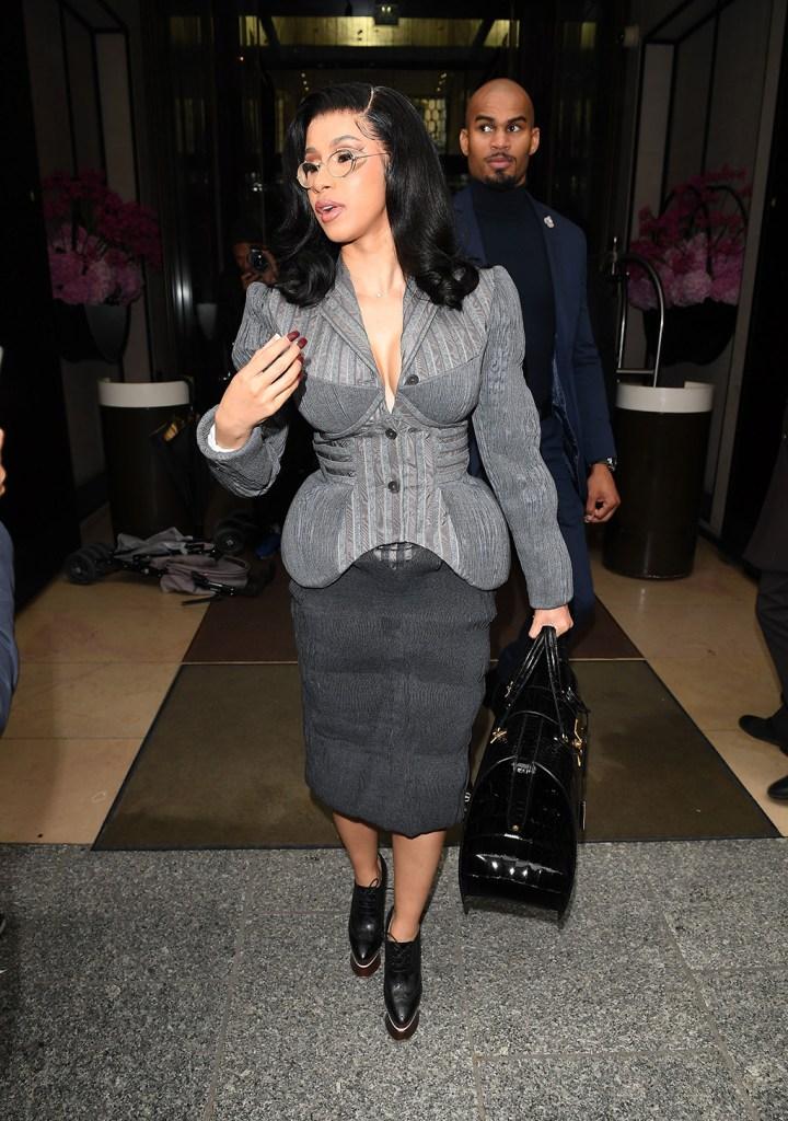 Cardi B, Paris fashion week, thom Browne, gray blazer, skirt, booties, platform shoes, celebrity style, Cardi B out and about, Paris Fashion Week, France - 29 Sep 2019