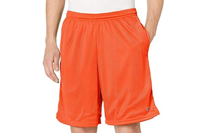 champion shorts, running shorts mens, mesh, orange