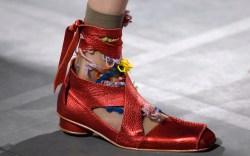 Model on the catwalk, shoe detailPreen