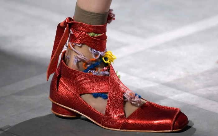 Model on the catwalk, shoe detailPreen by Thornton Bregazzi show, Runway, Spring Summer 2020, London Fashion Week, UK - 15 Sep 2019