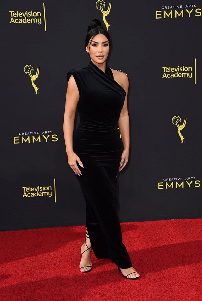 Kim Kardashian, red carpet, black gown, strappy black sandals, celebrity style, red carpet, arrives at night one of the Television Academy's 2019 Creative Arts Emmy Awards, at the Microsoft Theater in Los AngelesTelevision Academy's 2019 Creative Arts Emmy Awards - Arrivals - Night One, Los Angeles, USA - 14 Sep 2019