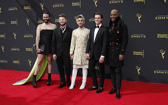 Jonathan Van Ness, Bobby Berk, Tan France, Antoni Porowski and Karamo Brown, Queer Eye, cast arrives on the red carpet for the 2019 Creative Arts Emmy Awards at the Microsoft Theater in Los Angeles, California, USA, 14 September 2019. The Creative Arts Emmy Awards honor excellence in Television technical categories such as makeup, casting direction, costume design, editing and cinematography. The 71st Primetime Emmy Awards Ceremony will take place on 22 September 2019.2019 Creative Arts Emmys, Los Angeles, USA - 14 Sep 2019
