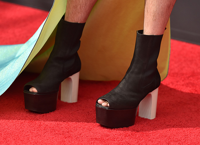 Jonathan Van Ness71st Annual Primetime Creative Arts Emmy Awards, Day 1, Arrivals, Microsoft Theater, Los Angeles, USA - 14 Sep 2019, rick Owens, peep toe boots, red carpet,
