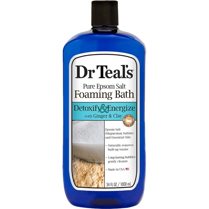 Dr Teal's Foaming Bath with Pure Epsom Salt, Detoxify & Energize with Ginger & Clay