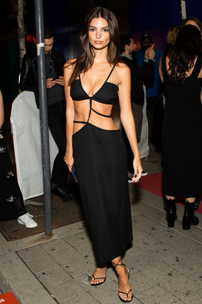 "Emily Ratajkowski, Christopher Esber, spring 2020, celebrity style, abs, thong sandals, high heeled flip flops, attends a premiere for ""Uncut Gems"" on day five of the Toronto International Film Festival at the Princess of Wales Theatre, in Toronto2019 TIFF - ""Uncut Gems"" Premiere, Toronto, Canada - 09 Sep 2019"