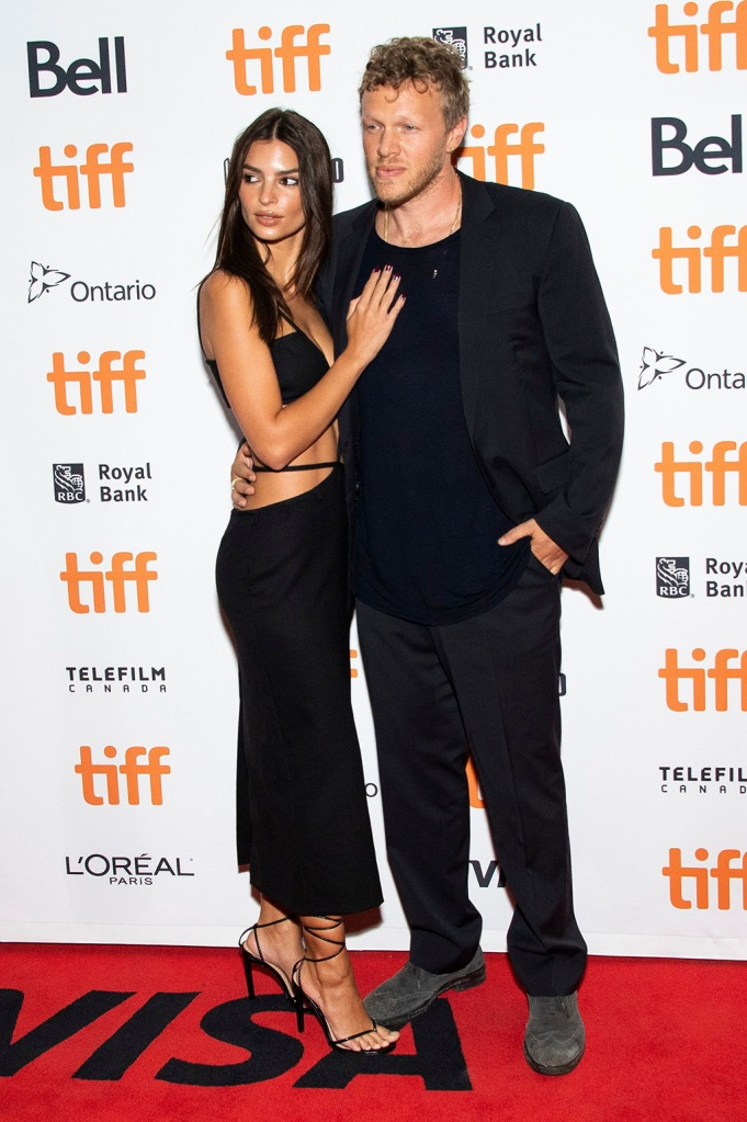 "Emily Ratajkowski, Sebastian Bear-McClard. Emily Ratajkowski, left, and Sebastian Bear-McClard attend a premiere for ""Uncut Gems"" on day five of the Toronto International Film Festival at the Princess of Wales Theatre, in Toronto2019 TIFF - ""Uncut Gems"" Premiere, Toronto, Canada - 09 Sep 2019"