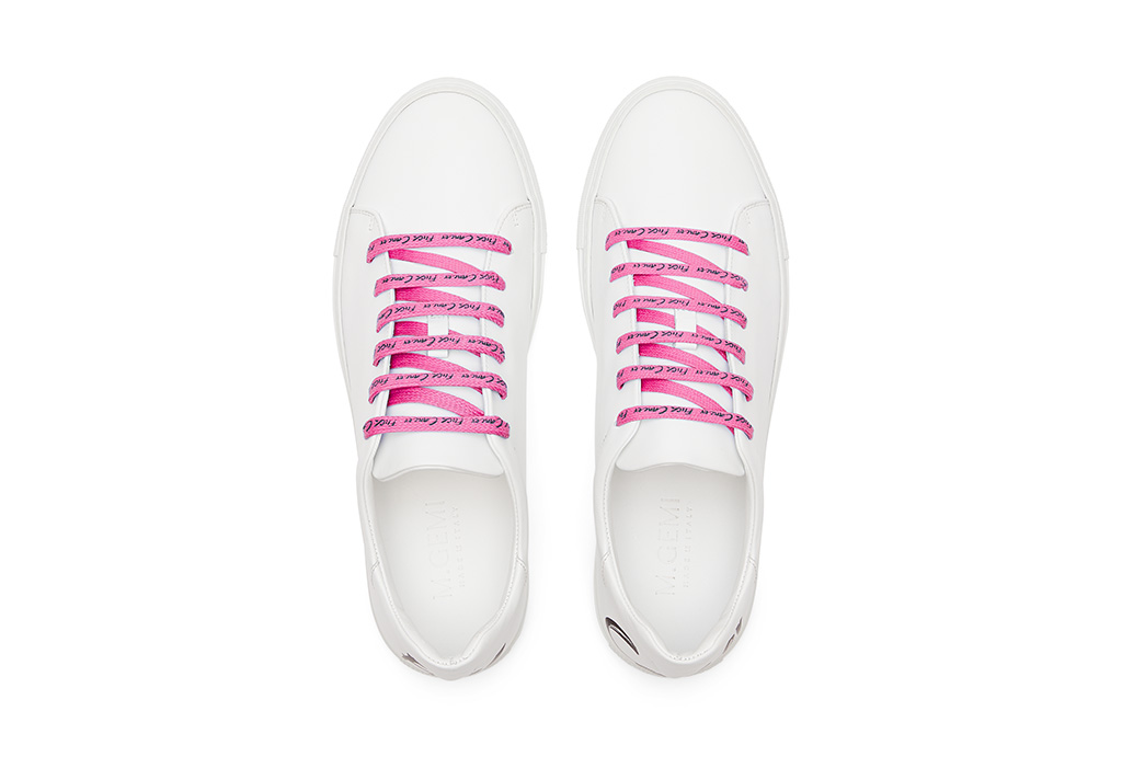 m gemi, sneakers, pink laces, fuck cancer, breast cancer awareness month shoes