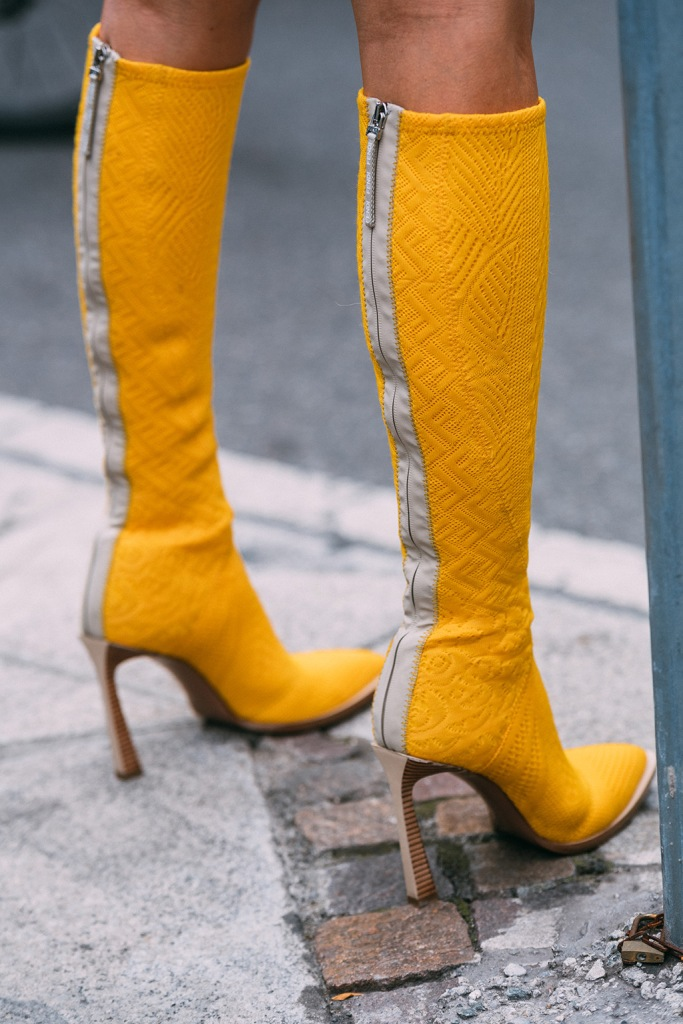 Fendi, yellow boots, Milan fashion week, street style, spring 2020
