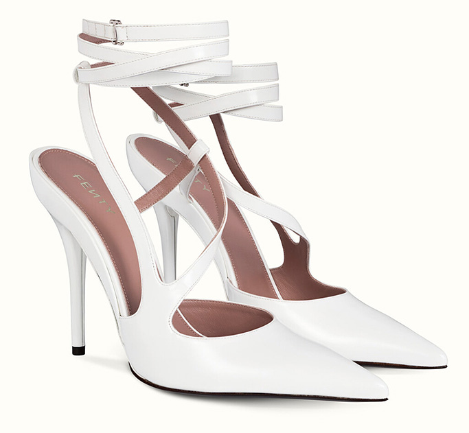 fenty date night pumps, white, strappy, heels