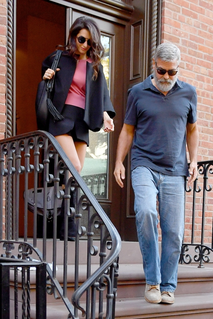 george clooney, amal clooney, black boots, nyc