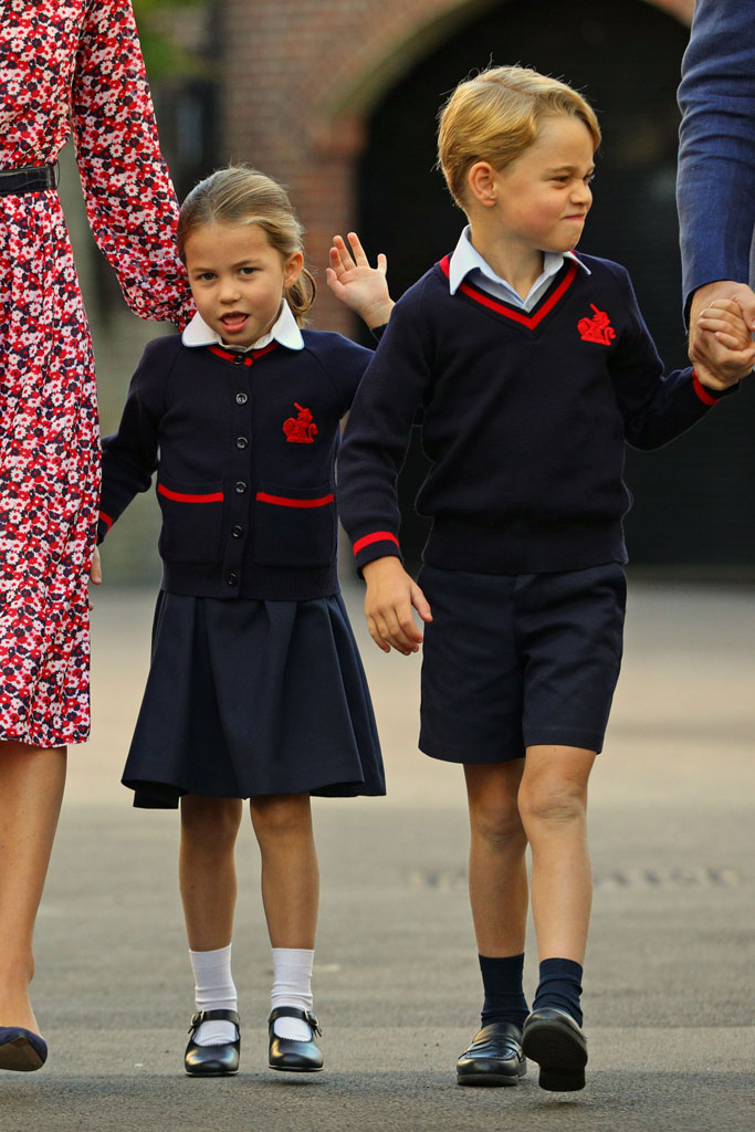 Prince George, Princess Charlotte, first day of school, celebrity style, British royals, kids, shoe style, uniform,
