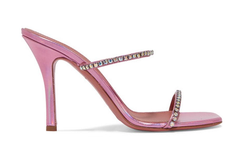 Amina Muaddi Gilda, pink sandals