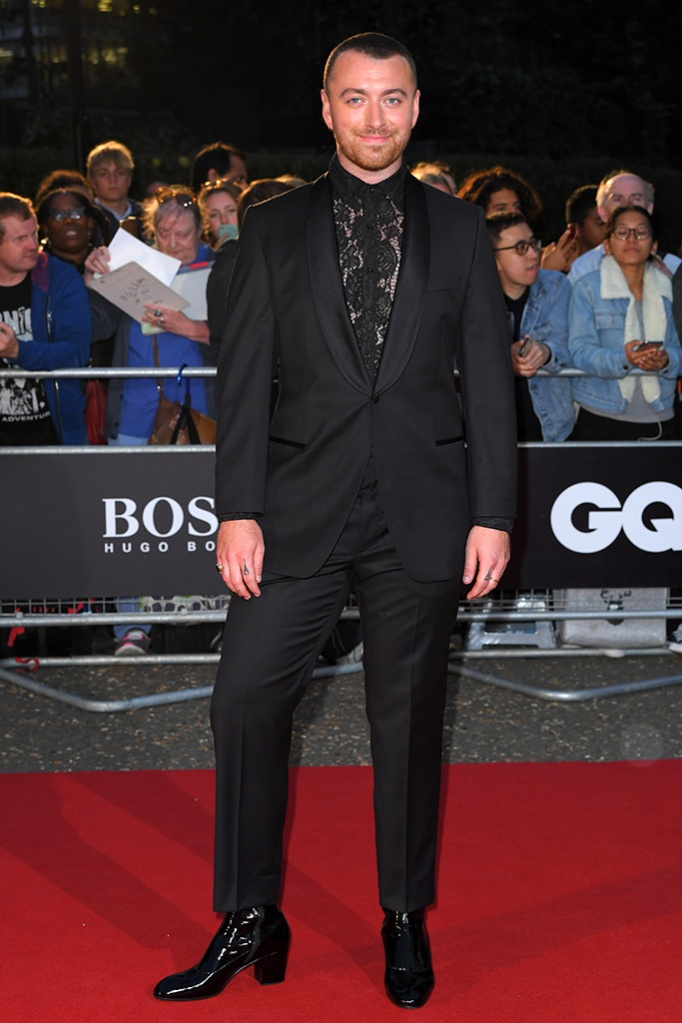 Sam Smith, Gucci shoes, heels, red carpet, boss tuxedo, lace top, GQ Men of the Year Awards, Arrivals, Tate Modern, London, UK - 03 Sep 2019