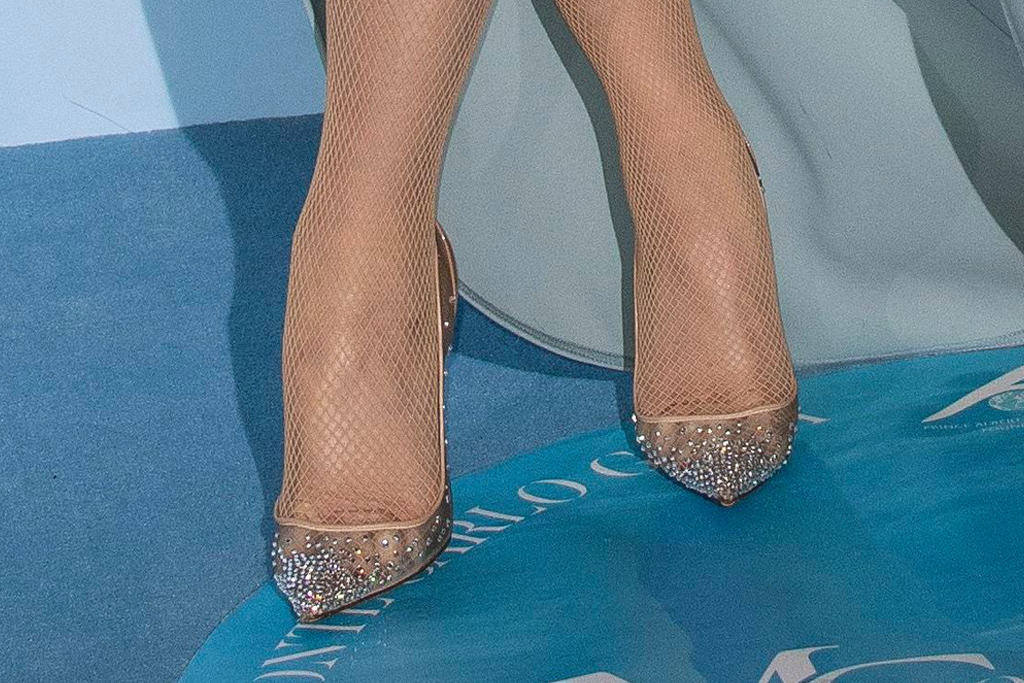 gwen stefani, louboutin heels, pvc, blue dress, Monte Carlo Gala for the Global Ocean 2019, elie saab dress