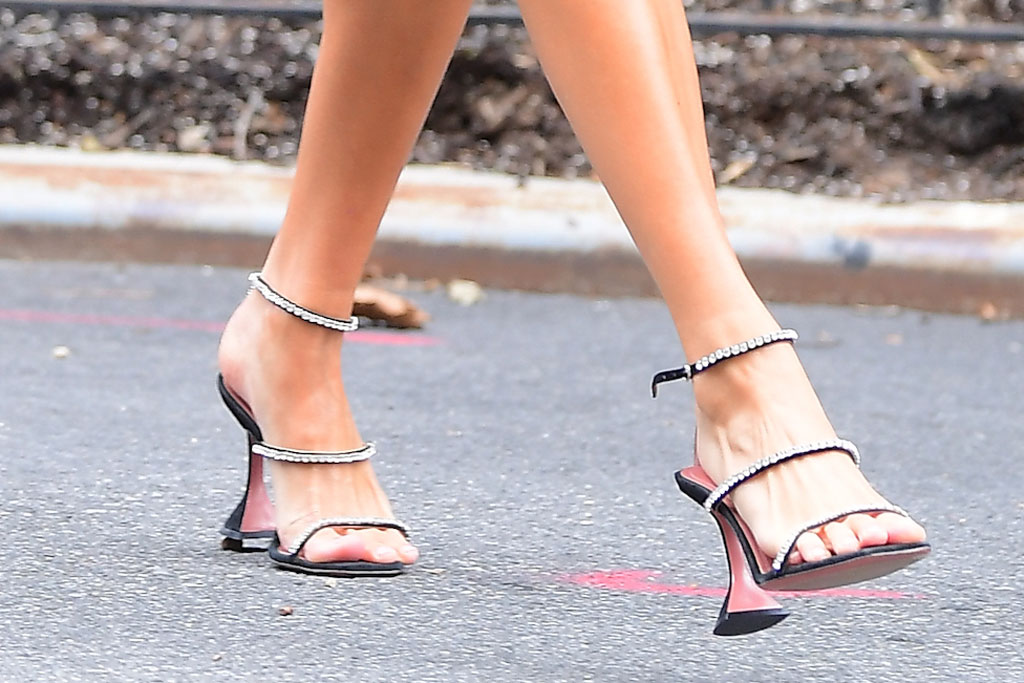 Hailey Baldwin, pedicure, amina muadi, strappy sandal, crystal embellished, shoe style, celebrity, model, New York city,