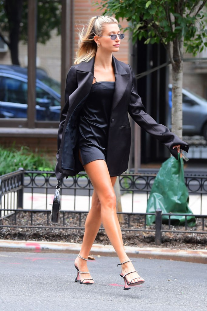 Hailey Baldwin, Marina Moscone, blazer, minidress, little black dress, legs, blond hair, sunglasses, a-lister, model off-duty, New York fashion week, Amina Muaddi, strappy sandals