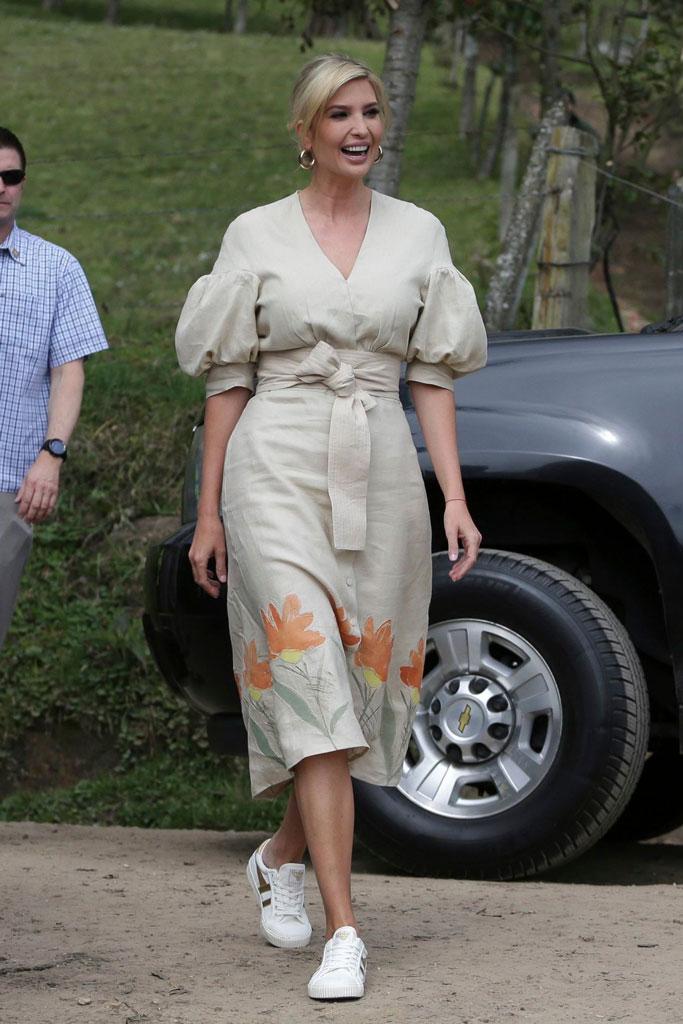 Ivanka Trump, celebrity style, gold sneakers, gola, j crew, SILVIA TCHERASSI dress, floral dress, White House advisor, v-neck dress, hoop earrings, strawberry field, Colombia