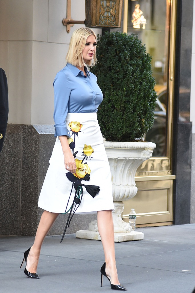 Ivanka Trump, classic black pumps, stilettos, Prada skirt, floral skirt, blue blouse, braless, street style, Ivanka Trump out and about, New York, USA - 23 Sep 2019Wearing Prada, Skirt
