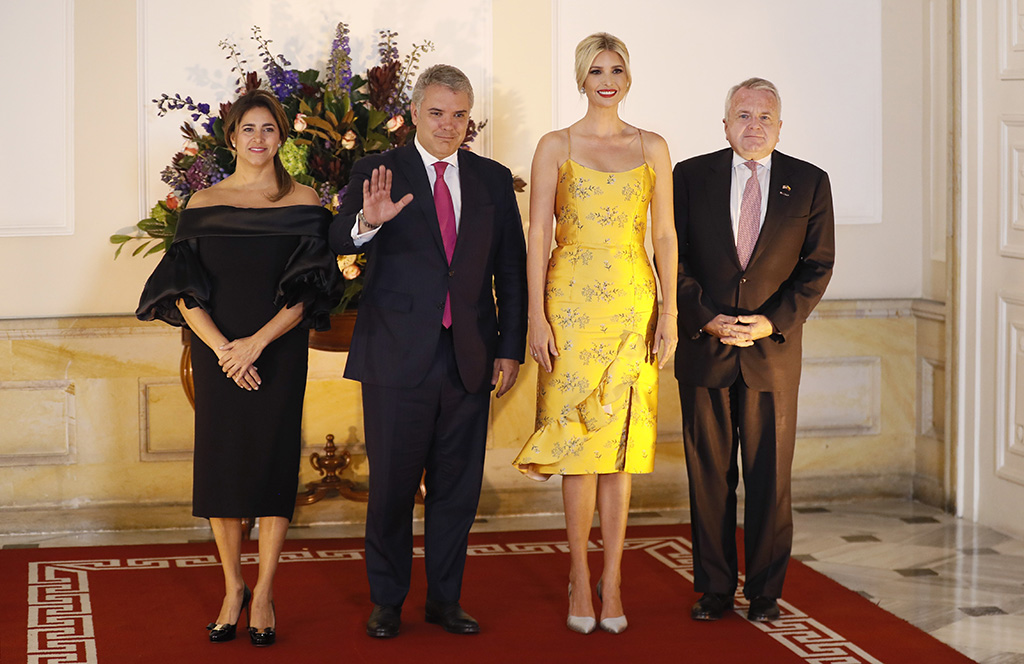 Colombian First Lady Maria Juliana Ruiz (L) and the Colombian President Ivan Duque (2-L), recieve Ivanka Trump (2-R), daughter and Advisor to the President of the United States Donald Trump, along with the United States Deputy Secretary of State John J. Sullivan (R), during Trump's visit to the 'Casa de Narino' Presidential Palace, in Bogota, Colombia, 03 September 2019.Presidential advisor Ivanka Trump visits Colombia, Bogota - 04 Sep 2019