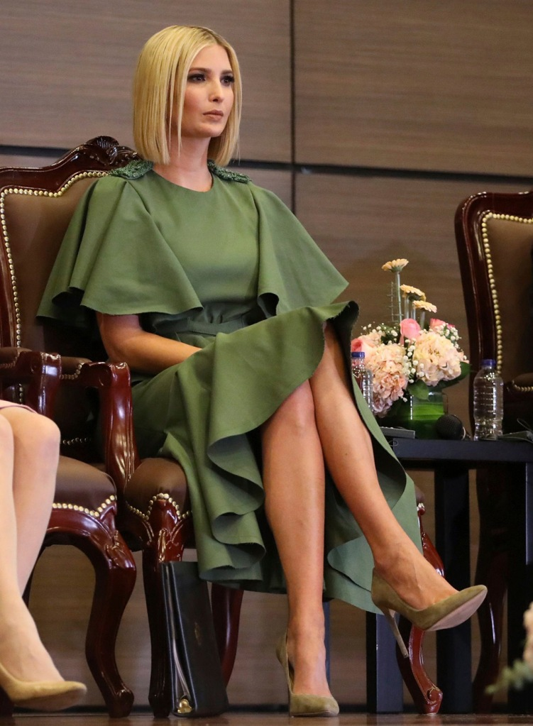 Ivanka Trump, Johanna Ortiz dress, haircut, bob, green dress, power pumps, pointy-toed heels, stilettos, bob, new haircut, President Donald Trump's daughter and White House adviser, attends an event with female police cadets at the General Santander National Policy Academy in Bogota, Colombia, . Ivanka Trump added a stop in Colombia to a previously announced trip to South America in September to focus on the economic empowerment of women in developing countriesIvanka Trump, Bogota, Colombia - 03 Sep 2019