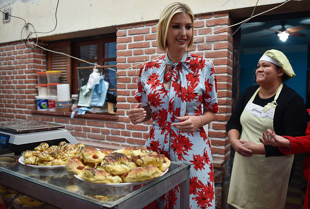 Ivanka Trump, President Donald Trump's daughter and White House adviser, visits the bakery of Cristina Alcoser, right, in Jujuy, Argentina, . Ivanka Trump is on the second stop of her South America trip aimed at promoting women's empowermentIvanka Trump, Purmamarca, Argentina - 05 Sep 2019