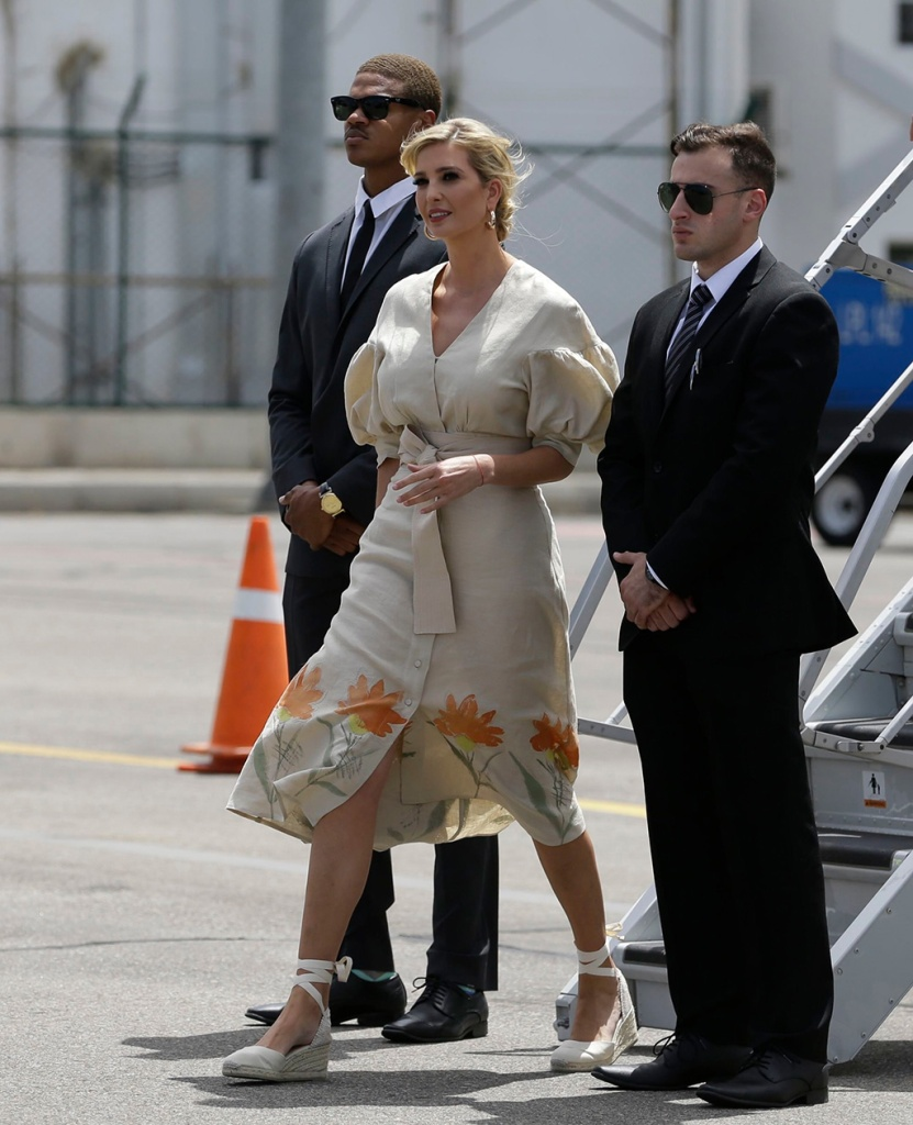 Ivanka Trump, SILVIA TCHERASSI, floral dress, celebrity style, wedges, high heels, President Donald Trump's daughter and White House adviser, deplanes in Cucuta, Colombia, where she will meet with Venezuelan migrants in this city on the Venezuelan border, . Ivanka Trump is kicking off her trip to South America by promoting women's empowermentIvanka Trump, Cucuta, Colombia - 04 Sep 2019