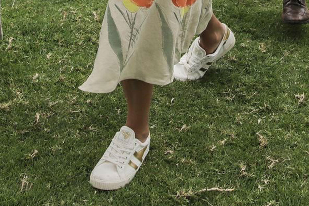 Ivanka Trump, gola for J Crew, sneakers, celebrity style, Colombia trip, shoe detail,