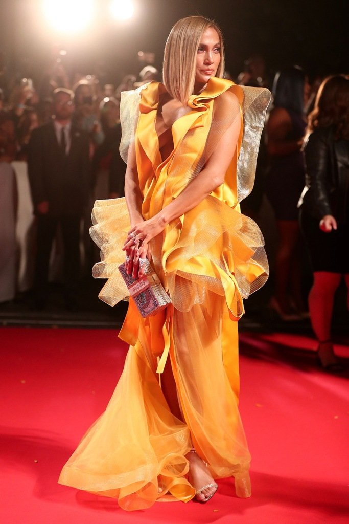Jennifer Lopez, Maison Yeya, yellow dress, legs, cleavage, gold sandals, stilettos, femme la shoes, 'Hustlers' premiere, Arrivals, Toronto International Film Festival, Canada - 07 Sep 2019