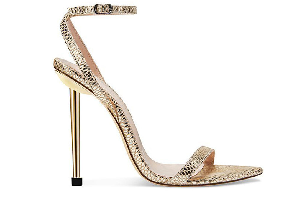 Femme Shoes, ford sandal, gold stilettos