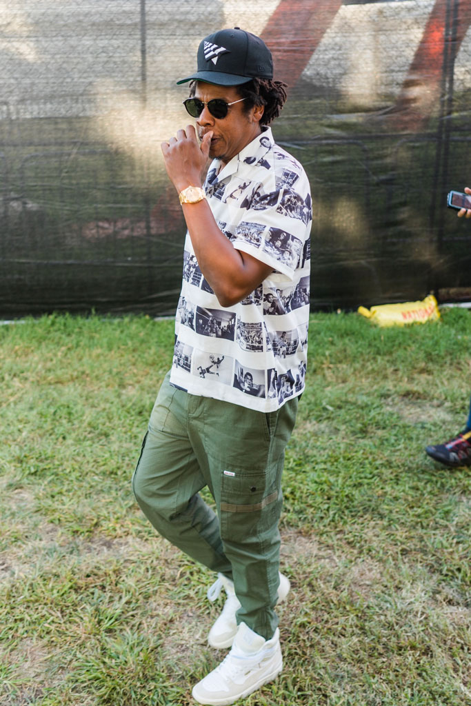 Jay-Z, made in America festival, puma sneakers, cargo pants, Marcelo Burton shirt