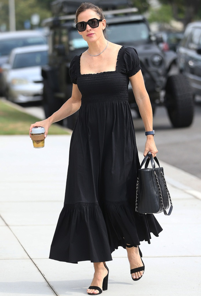 Jennifer Garner, smock dress, all black outfit, church, celebrity style, chanel purse, coffee cup, sunglasses, gianvito rossi shoes, sandals, black sandals, heels, Jennifer Garner out and about, Los Angeles, USA - 16 Sep 2019