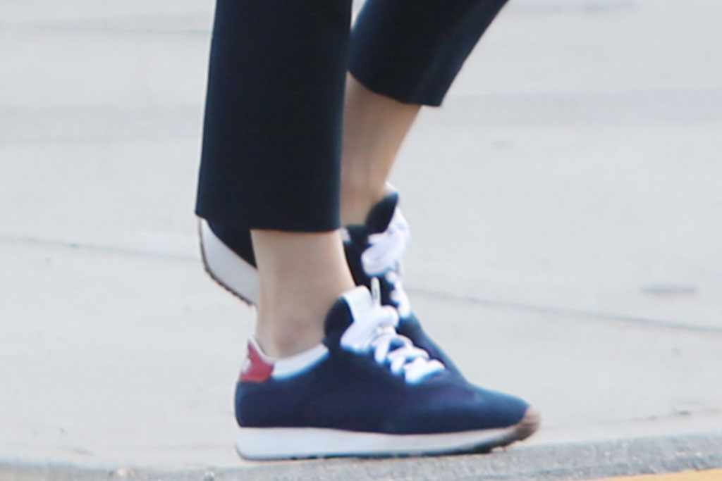 Jennifer Garner, Prada sneakers, school drop off, designer sneakers, blue shoes, celebrity style, street style, los angeles