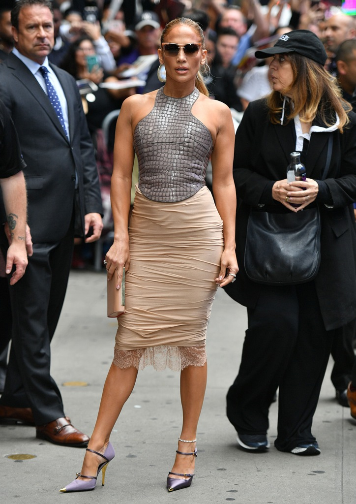 Jennifer Lopez, tom ford, croc top, pencil skirts, legs, celebrity style, tom ford shoes, Mary Janes, purple pumps. 'Good Morning America' TV show, New York, USA - 10 Sep 2019Wearing Tom Ford Same Outfit as catwalk model *9865768ag