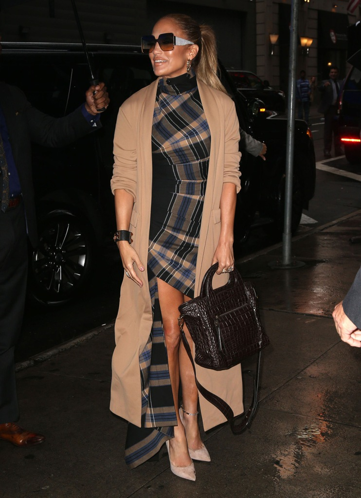 Jennifer Lopez, jimmy choo Anouk, high heels, nude pumps, monse dress, plaid dress, celebrity style, Good Morning America' TV show, New York, USA - 10 Sep 2019Wearing Monse Same Outfit as catwalk model *10264728k