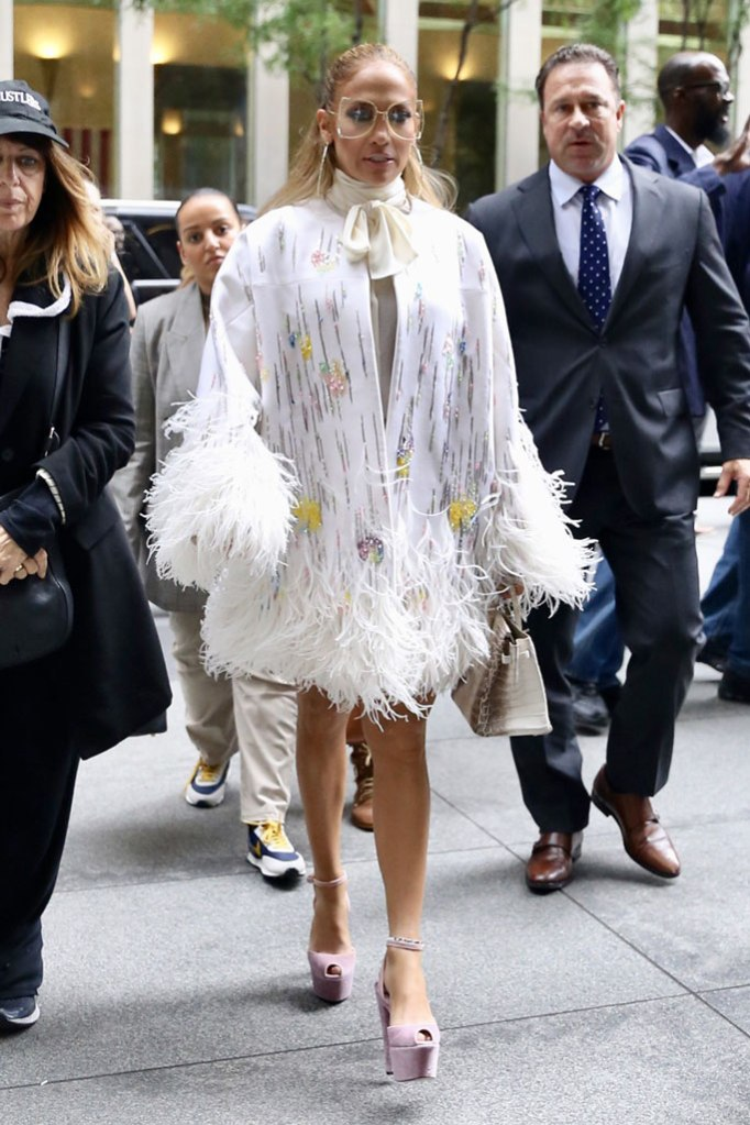 Jennifer lopez, Sirius xm, 15,000 dollar jacket, feathers, Valentino, shorts, legs, platform sandals, celebrity style, nyc