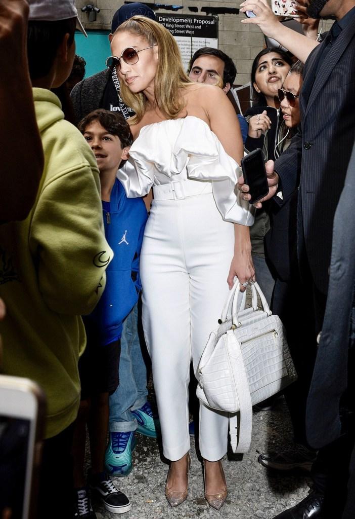 Jennifer Lopez, solace London jumpsuit, christian louboutin shoes, crystal covered stilettos, Jennifer Lopez out and about, Toronto International Film Festival, Canada - 08 Sep 2019