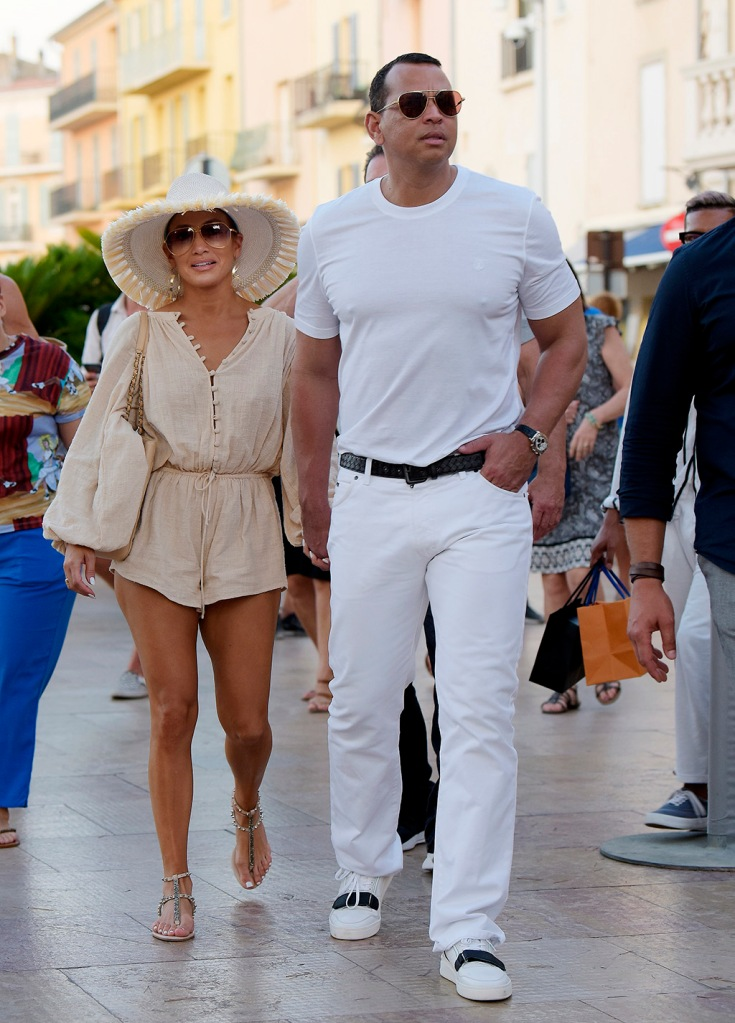 Jennifer Lopez and Alex Rodriguez seen enjoying a luxury shopping day in Saint Tropez. 04 Sep 2019 Pictured: Jennifer Lopez and Alex Rodriguez. Photo credit: Spread Pictures / MEGA TheMegaAgency.com +1 888 505 6342 (Mega Agency TagID: MEGA495337_001.jpg) [Photo via Mega Agency]