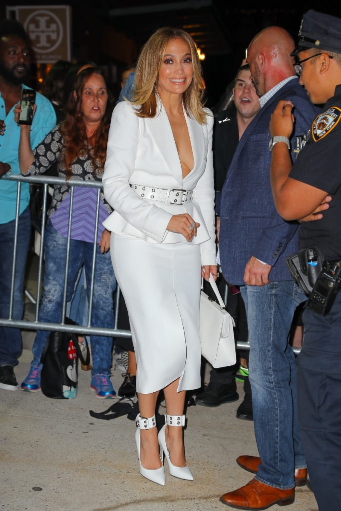 jennifer lopez, all white, perfume, pop-up shop, j-lo, white heels