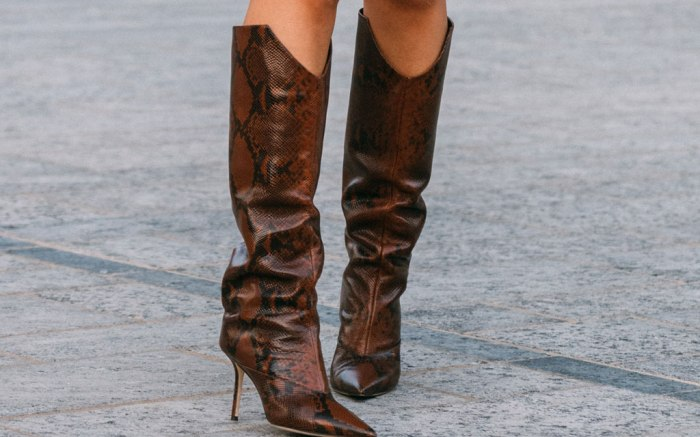 Jimmy Choo, snake-print boots, Milan fashion week, street style, spring 2020
