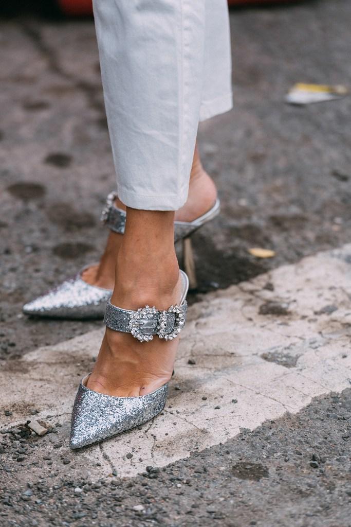 Jimmy Choo, silver heels, pumps, New York fashion, nyc, street style