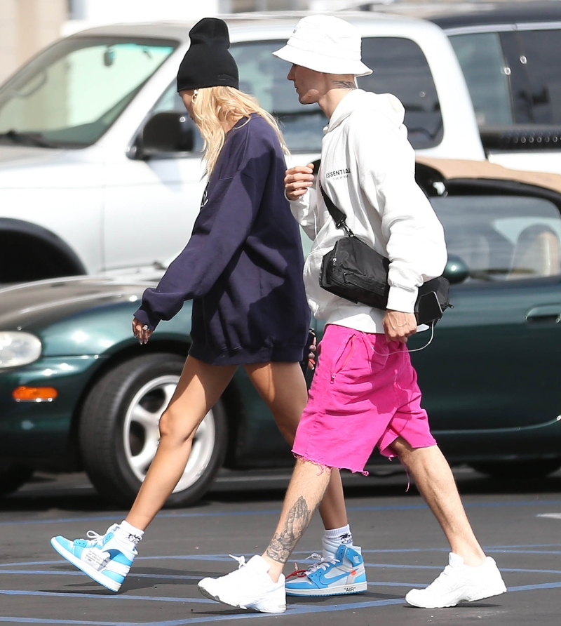 justin bieber, hailey baldwin, off-white sneakers, nike sneakers, fear of god essentials pullover hoodie