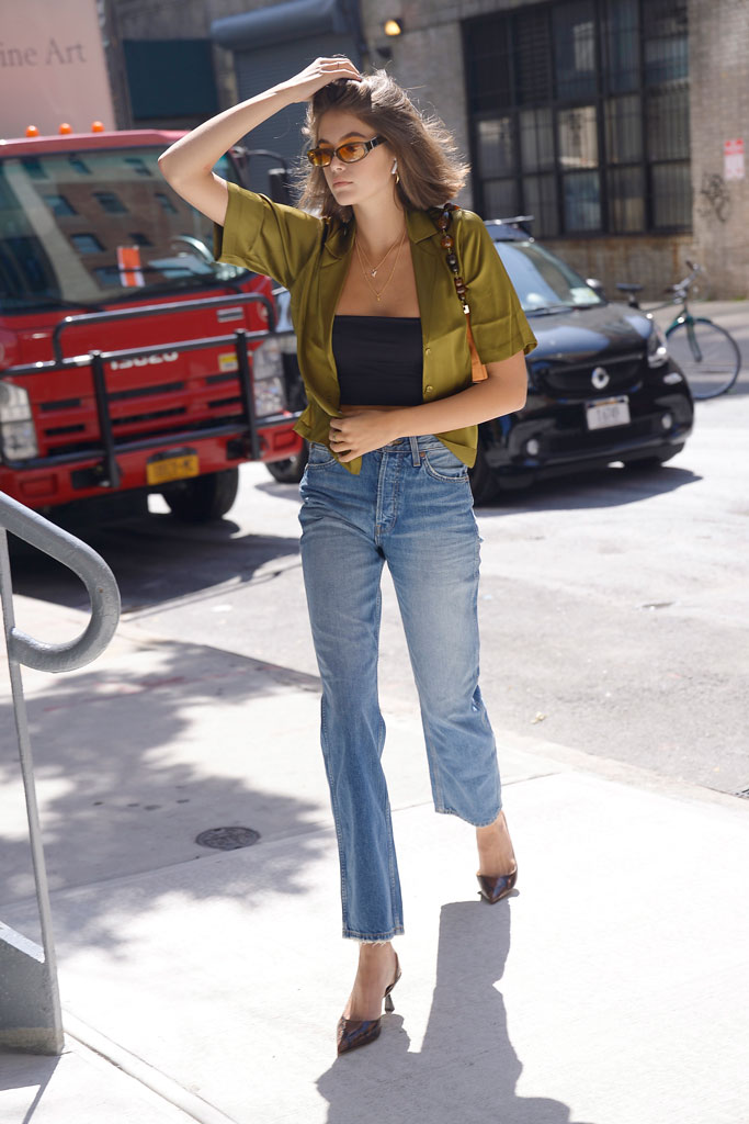 Kaia Gerber, model off-duty style, 18th birthday, jimmy Choo shoes, python pumps, kitten heels, celebrity shoe style, New York city, fashion, re/done jeans, tank top, orseund iris, silk top,