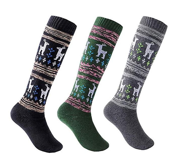 kalakids ski socks, elk pattern, kids socks, girls socks, boys socks, ski socks, snowboarding